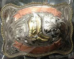 Modestone Antiqued Gun Metal Trophy Belt Buckle Cowboy Boots 4'' X 3''
