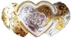 Modestone Nickel Silver Trophy Belt Buckle 3 Hearts 4'' X 2