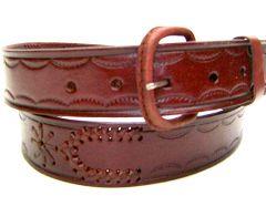Modestone Men's Spur Shaped Braid Embossed Leather Belt 1.5'' Width Burgundy