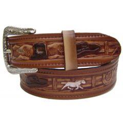 Modestone Men's Embossed Cowboy Theme Leather Belt 1.5'' Width Brown