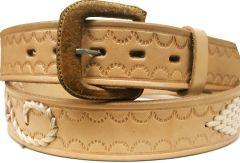 Modestone Diamond & Filigree Braid Leather Belt 1.5'' Width Beige