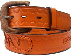 Modestone Single & Filigree Braid Leather Belt 1.5'' Width Orange