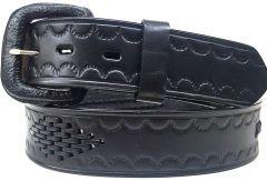 Modestone Diamond Braid Leather Belt 1.5'' Width Black
