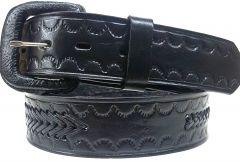 Modestone Arrow Braid Leather Belt 1.5'' Width Black