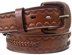 Modestone Single & Double Braid Leather Belt 1.5'' Width Brown