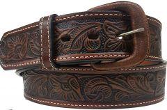 Modestone Embossed Floral Western Leather Belt 1.5'' Width Brown