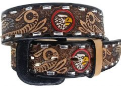 Modestone Hand Painted Eagle Laced Western Leather Belt 1.5'' Width Beige
