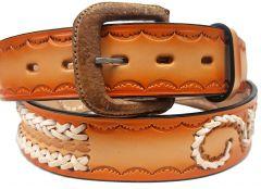 Modestone Double & Filigree Braid Leather Belt 1.5'' Width Orange