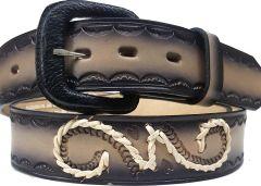 Modestone Double & Filigree Braid Leather Belt 1.5'' Width Grey