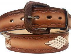 Modestone Double & Diamond Braid Leather Belt 1.5'' Width Beige
