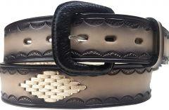 Modestone Double & Diamond Braid Leather Belt 1.5'' Width Grey