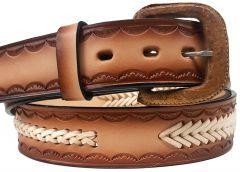 Modestone Arrow & Single Braid Leather Belt 1.5'' Width Brown
