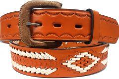 Modestone Double & Diamond Braid Leather Belt 1.5'' Width Orange
