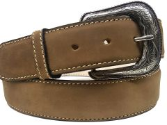Modestone Western Filigree Buckle Stitched Leather Belt 1.5'' Width Khaki