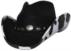 Modestone ''Faux Felt'' Cowboy Hat Cow Under Brim Concho Hatband Black