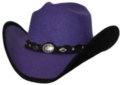 Modestone ''Faux Felt'' Cowboy Hat Black Under Brim Concho Hatband Purple