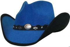 Modestone ''Faux Felt'' Cowboy Hat Black Under Brim Concho Hatband Blue