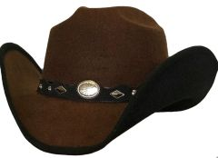 Modestone ''Faux Felt'' Cowboy Hat Black Under Brim Concho Hatband Brown