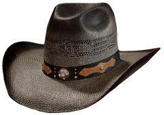 Modestone Wide Brim Straw Cowboy Hat Bangora Breezer Grey
