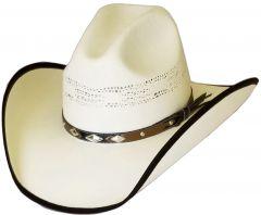 Modestone Straw Cowboy Hat Bangora Slope Crown Fabric Brim Edge Off-White