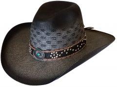 Modestone Wide Brim Straw Cowboy Hat Breezer Grey
