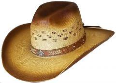 Modestone Wide Brim Straw Cowboy Hat Breezer Beige