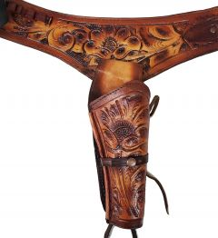 Modestone Men's Hand Tooled Leather holster gun belt Tan & Brown