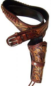 Modestone 44/45 Handmade Western Leather Holster Gun Belt Rig Revolver Tan