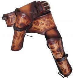 Modestone 44/45 Western Left Cross Draw Double Holster Gun Belt Rig Leather
