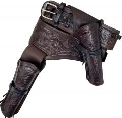 Modestone 44/45 Western RIGHT Cross Draw Double Holster Gun Belt Rig Leather