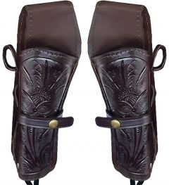 Modestone Western Leather 2 X Revolver Holsters for Gun Belt Hand Tooled