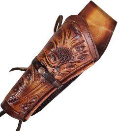 Modestone Western Leather Left Handed Revolver Holster for Gun Belt Beige
