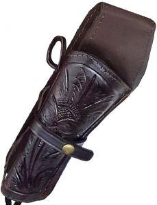 Modestone Western Leather Left Handed Revolver Holster for Gun Belt Brown