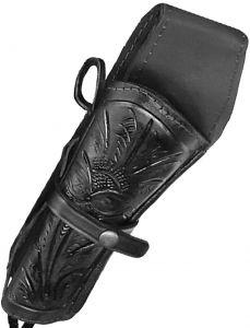 Modestone Western Leather Left Handed Revolver Holster for Gun Belt Black