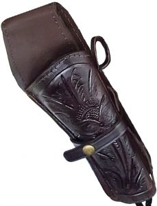 Modestone Western Leather Right Handed Revolver Holster for Gun Belt Brown