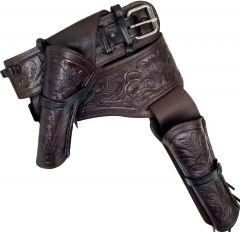 Modestone 357/38 Western Left Cross Draw Double Holster Gun Belt Rig Leather