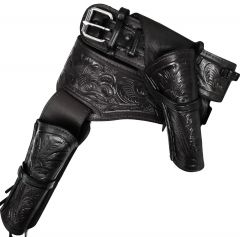 Modestone 357/38 Western RIGHT Cross Draw Double Holster Gun Belt Rig Leather