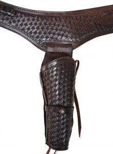 Modestone 44/45 Western Leather Holster Gun Belt Rig Revolver Brown