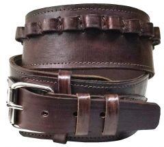 Modestone 38/357 Cal High Ride/Rise Handmade Leather Gun Belt *NO HOLSTERS* Brown