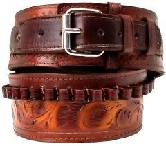 Modestone 38/357 cal Western High Ride/Rise Leather Gun Belt *NO HOLSTERS* Beige