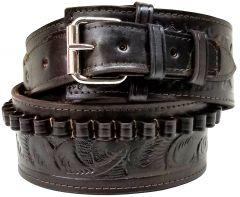 Modestone 38/357 cal Western High Ride/Rise Leather Gun Belt *NO HOLSTERS* Brown