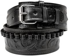 Modestone 38/357 cal Western High Ride/Rise Leather Gun Belt *NO HOLSTERS* Black