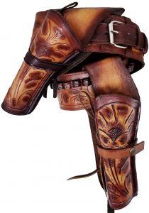 Modestone 44/45 High Ride Left Cross Draw Double Holster Gun Belt Rig Leather