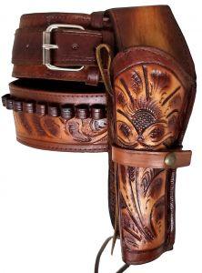 Modestone 357/38 Western Left High Ride/Rise Holster Gun Belt Rig Leather
