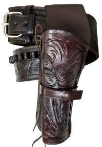Modestone 44/45 Western Left High Ride/Rise Holster Gun Belt Rig Leather
