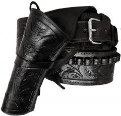 Modestone 357/38 Left Cross Draw High Ride/Rise Holster Gun Belt Rig Leather