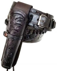 Modestone 357/38 Western RIGHT High Ride/Rise Holster Gun Belt Rig Leather
