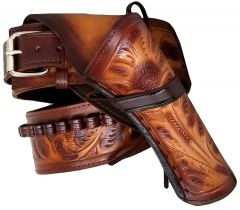 Modestone 22 Cal RIGHT Cross Draw High Ride/Rise Holster Gun Belt Rig Leather