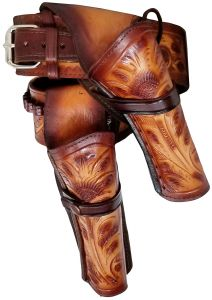 Modestone 22 Cal High Ride RIGHT Cross Draw Double Holster Gun Belt Rig Leather
