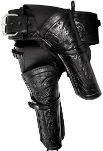 Modestone 357/38 High Ride RIGHT Cross Draw Double Holster Gun Belt Rig Leather